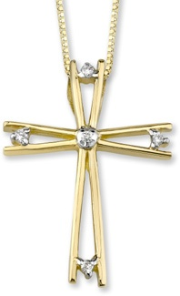 5 Stone Diamond Cross Pendant, 14K Yellow Gold