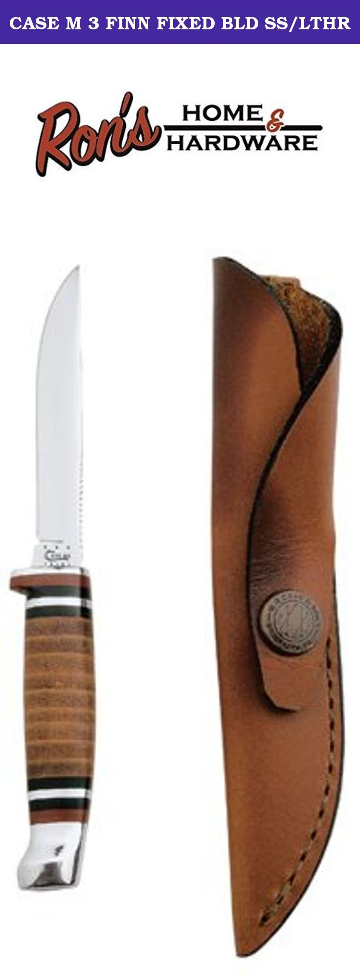 """CASE M 3 FINN FIXED BLD SS/LTHR. M3FINN SS, Small, Leather Hunter, Single Blade, Knife, Features Polished Leather Handle With Genuine Leather Sheath, Mirror-Polished Concave Ground 3-1/8"""" Clip Blade, Overall Length 6-1/2"""", 2.5 OZ, Blade Length 3.20""""."""