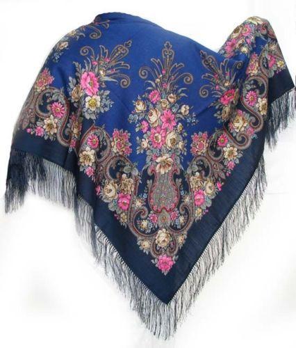 "Russian Pavlovo Posad shawl scarf 125 x 125cm(49x49""), 100% wool, 100% silk fringe                                                                                          A LA RUSSE"