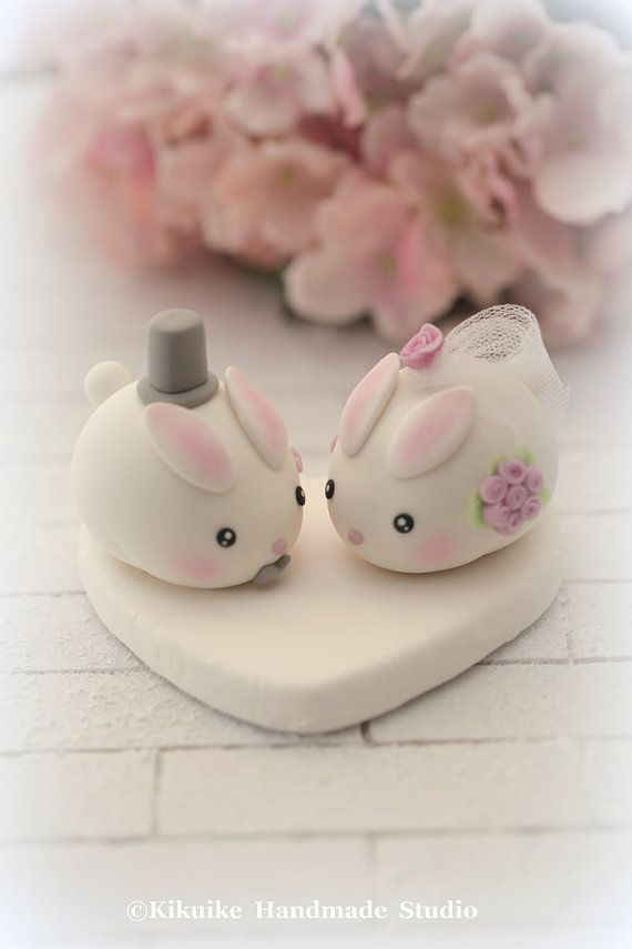 Kawaii coniglio e coniglio handmade wedding cake topper di kikuike