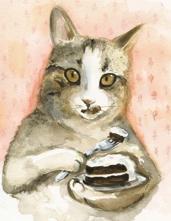 Just Desserts Cat Watercolor Art Archival print by amberalexander