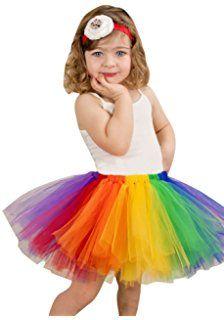 NiSeng Kinder Mädchen Regenbogen Partei Tanzkleid Ballettrock Tüllrock Tütü Ballettkleid Tutu Rock Petticoat