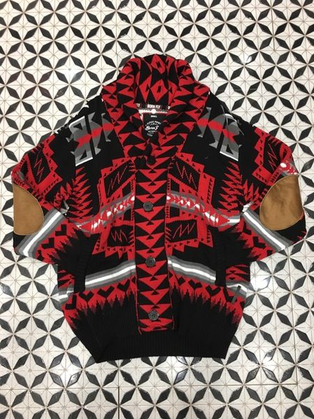 Image of Bornfly cardigan black and red