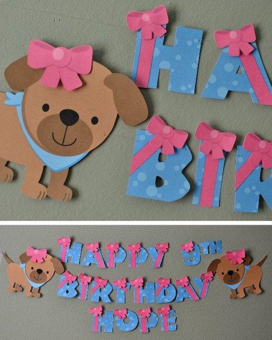 Puppy Birthday Party Banner Puppy Baby Shower  by bcpaperdesigns, $15.00