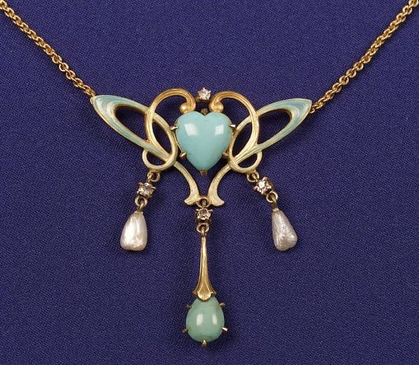 Art Nouveau Enamel & Turquoise Lavalier