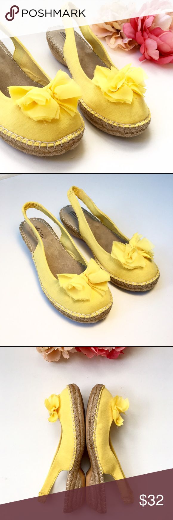 White Mountain Cheerful Sling-back Espadrille Shoe More details to come soon...Bright yellow. Size 8.5. Stretch Canvas. White Mountain Shoes Espadrilles