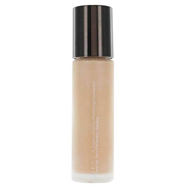 Becca Light Aqua Luminous Perfecting Foundation ($36) ❤ liked on Polyvore featuring beauty products, makeup, face makeup, foundation, liquid foundation and becca foundation