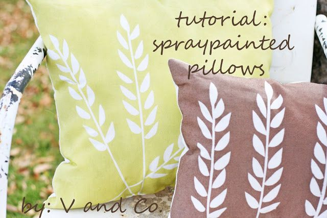 V and Co.: tutorial: spraypainted wheat pillows