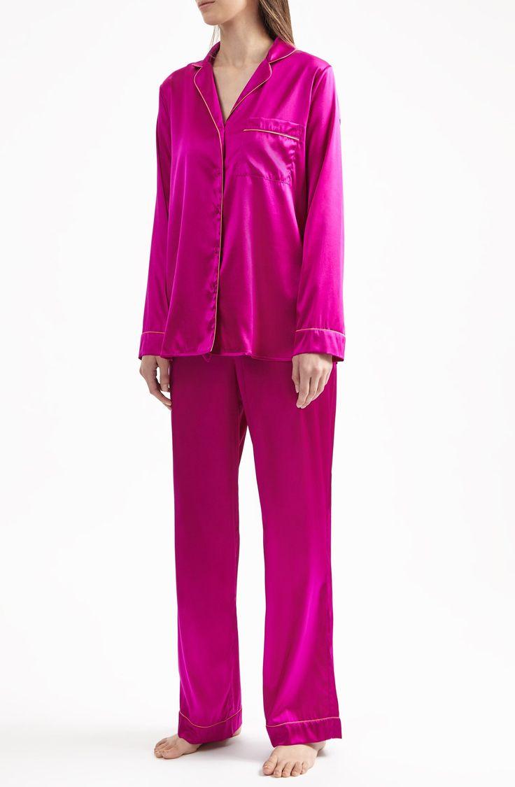 YOLKE | Boysenberry Stretch Silk Pyjama Set | YOLKE