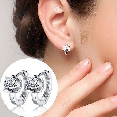 1 Pair Women Silver Plated Jewelry Crystal Ear Stud Earrings