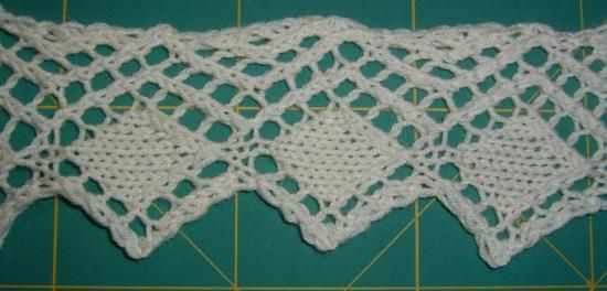 Sample of the Lace Edging from the Encyclopedia of Needlework knit pattern