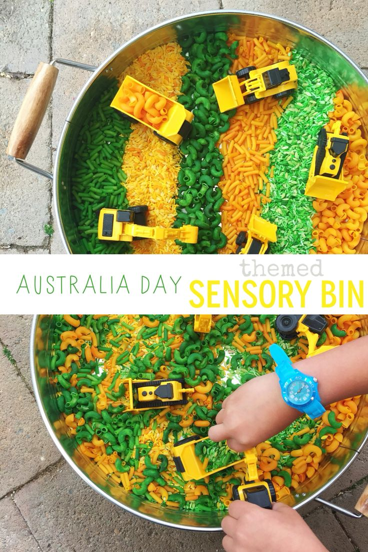 Australia Day themed Sensory Play bin - Eucalyptus scented Construction Site with dried rice & pasta   @oliviasfoster