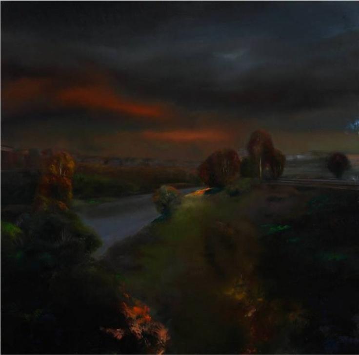 """Francesco Parisi, """"Il Tevere da ponte Testaccio"""", oil on canvas, 2010, cm 120x120"""