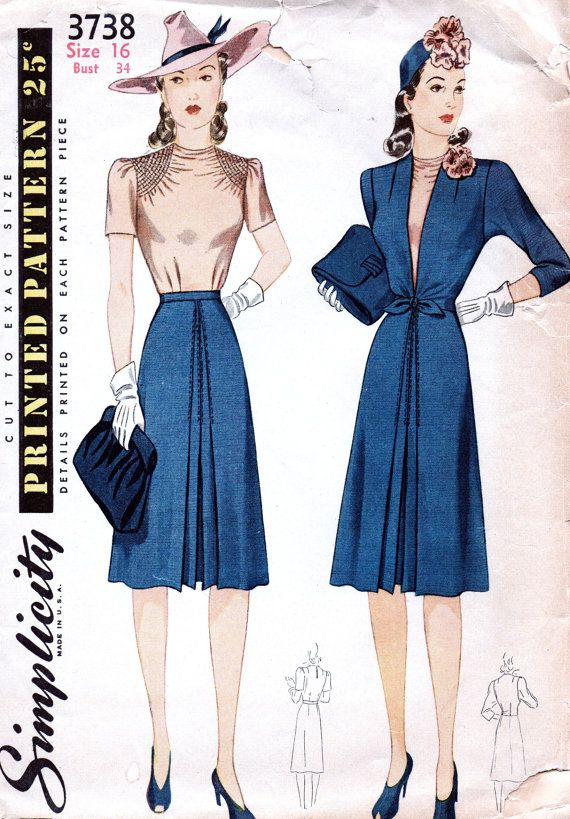 1940s Vintage Simplicity Pattern 3738 //  CLASSY Misses' Ensemble: Blouse, Skirt and Jacket  // Size 16..bust 34