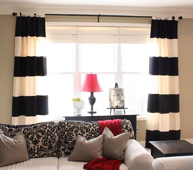 DIY striped curtains.: Decor, Ideas, Living Rooms, Black And White, Livingroom, Black White, Striped Curtains, Diy, Cape Cod