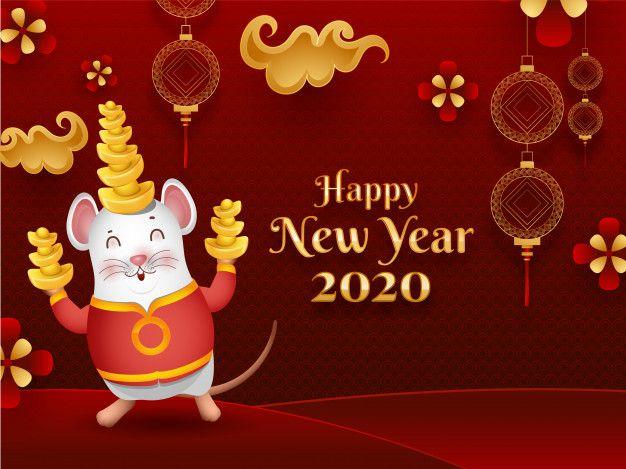 Happy Chinese New Year 2020 Celebration Premium Vector Freepik Vector Flower H Chinese New Year Card Happy Chinese New Year Chinese New Year Greeting