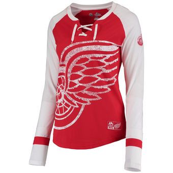 Majestic Detroit Red Wings Women's Red Vintage Hip Check Lacer Long Sleeve T-Shirt