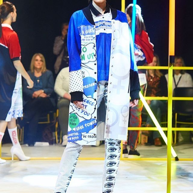 Sophie Maddocks - Manchester School of Art - Graduate Collection 2017. Feminism. Comic. Pop Art. Manchester Fashion Show. Digitally printed Leather Jacket, Silk top, Jeans.