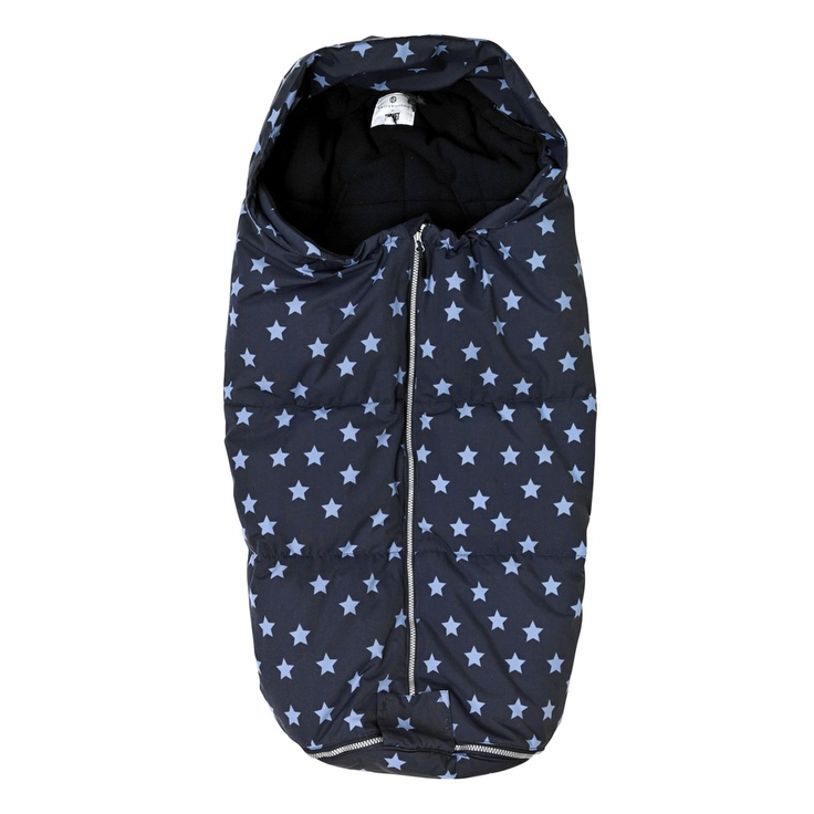 Navy blue with blue stars. Great for outdoor nap time.