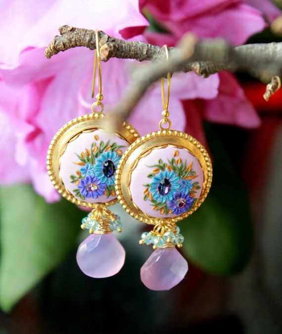 Blue Topaz quartz , Mauve Pink Chalcedony gemstone earrings with Brass filigree and Clay floral details - A Stroll in the Garden via Etsy