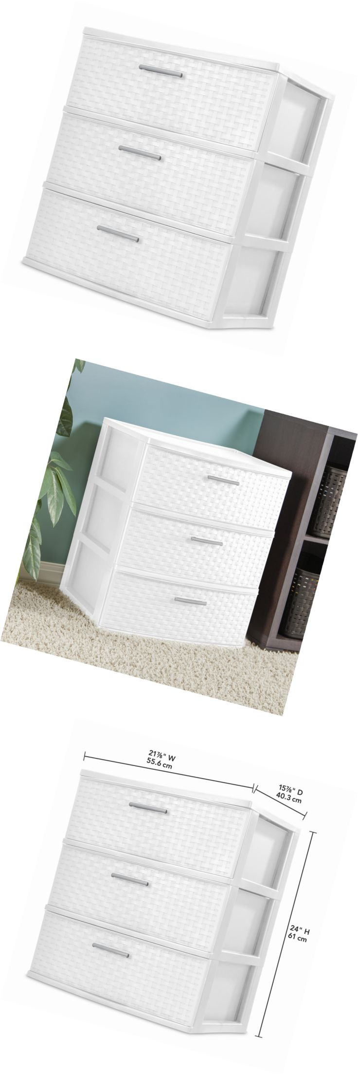 White tilt out clothes storage basket bin bathroom drawer ebay - Storage Bins And Baskets 159898 Sterilite 3 Drawer Wide Weave Tower White