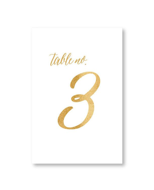 Gold Script Table Numbers by Pretty Chic SF - perfect for easels or framing