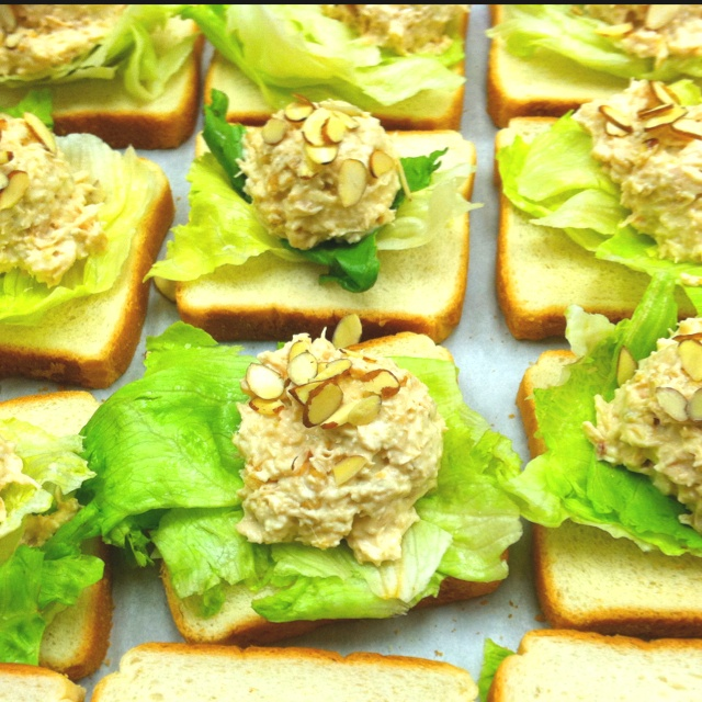 Chicken salad with french onions, apples and almonds. Made this for my ...