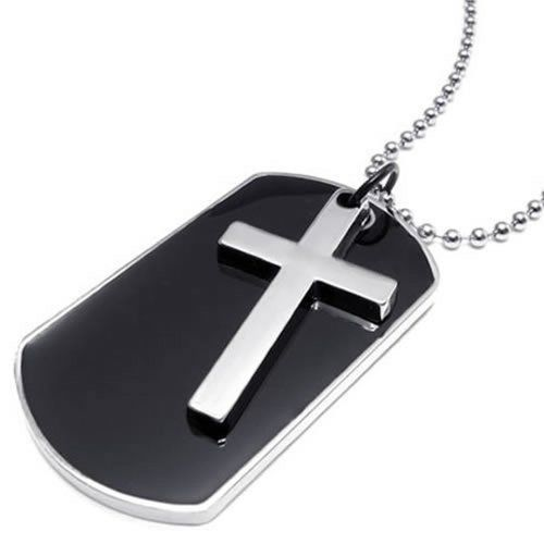 pendentif homme cha ne 68 cm croix plaque militaire nom pr nom dog tag style militaire. Black Bedroom Furniture Sets. Home Design Ideas