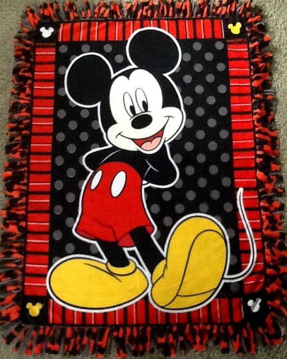 Mickey Mouse fleece tie blanket, reversible blanket. Shop here: https://www.etsy.com/listing/231482218/mickey-mouse-fleece-tie-blanket?ref=shop_home_active_1 #simpleesweetboutique