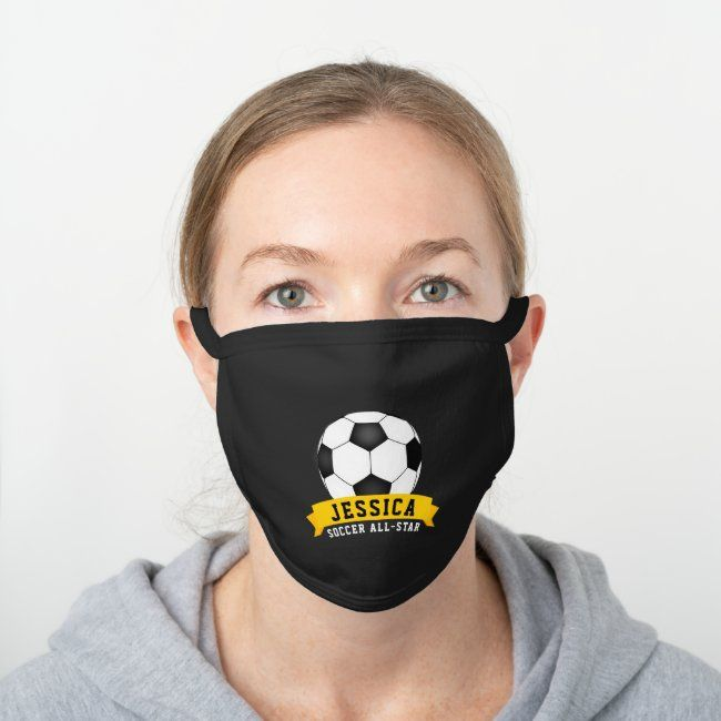 Soccer All Star Ball And Name Black Cotton Face Mask Zazzle Com In 2020 All Star Black Cotton Face Mask