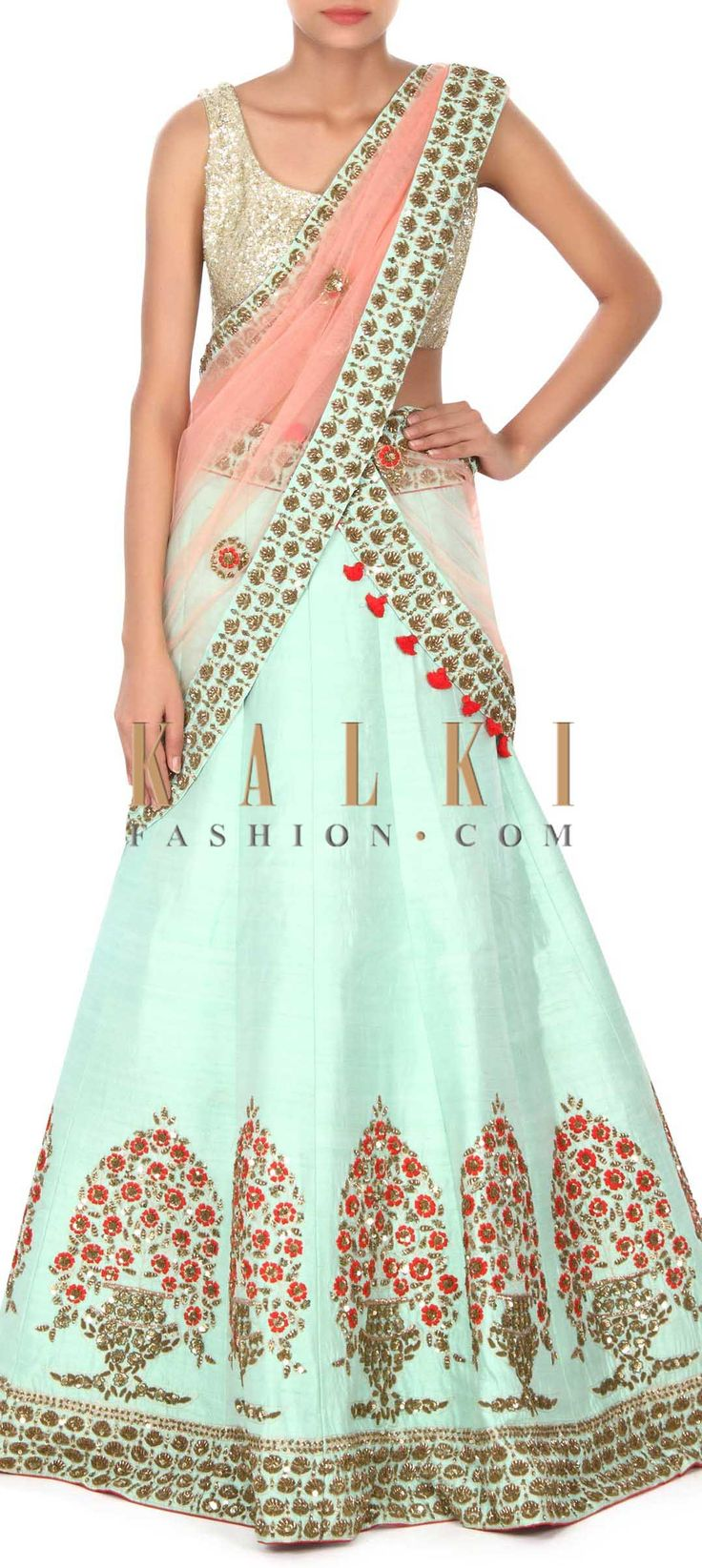 Buy this Mint lehenga adorn in resham and sequin embroidered butti only on Kalki