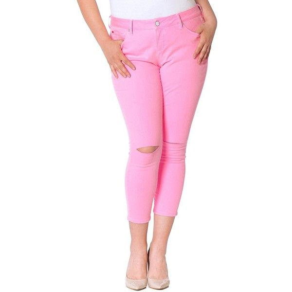 Plus Size Women's Slink Jeans Slit Knee Ankle Skinny Jeans ($98) ❤ liked on Polyvore featuring plus size women's fashion, plus size clothing, plus size jeans, neon pink, plus size, skinny ankle jeans, slim jeans, slim fit jeans, pink jeans and slit jeans