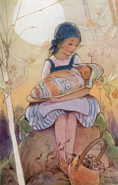 The Lost Princess ~ Mabel Lucie Attwell (4 June 1879 – 5 November 1964) was a British illustrator. She was known for her cute, nostalgic drawings of children, based on her daughter, Peggy. Her drawings are featured on many postcards, advertisements, posters, books and figurines. In 1908, she married painter and illustrator Harold Cecil Earnshaw and became the mother of one daughter and two sons.