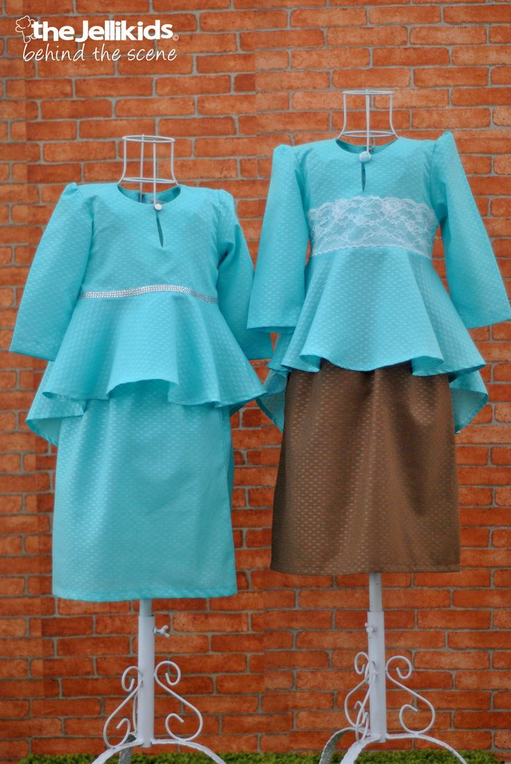 The Peplum Kurungs in Tiffany Blue.