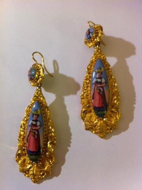 swiss enamel earrings from 1860
