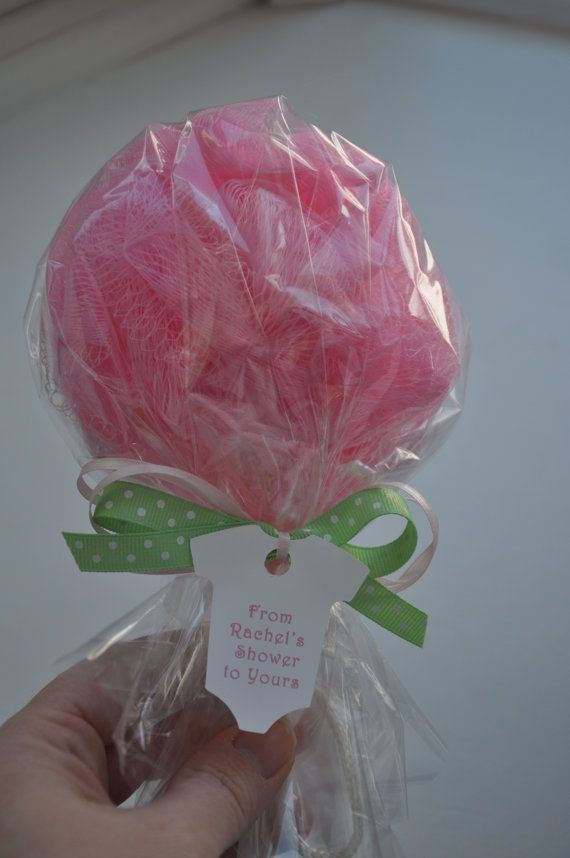 Pink Ready to Pop Baby Shower Favor Bath Puff by KristinsWhimsy
