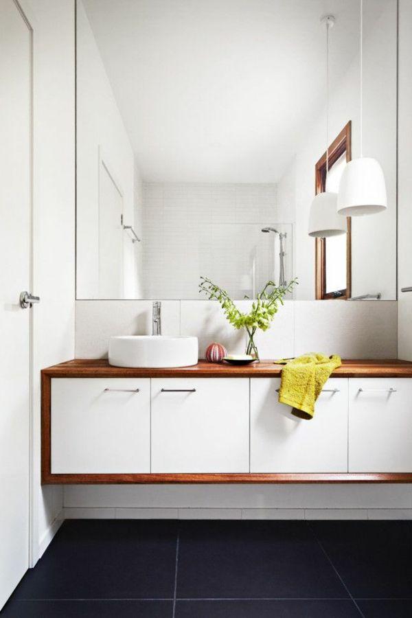 Fantastisch Waschbeckenschrank Design Badezimmer Weiß Holz Pflanze Hängende Pflanzen