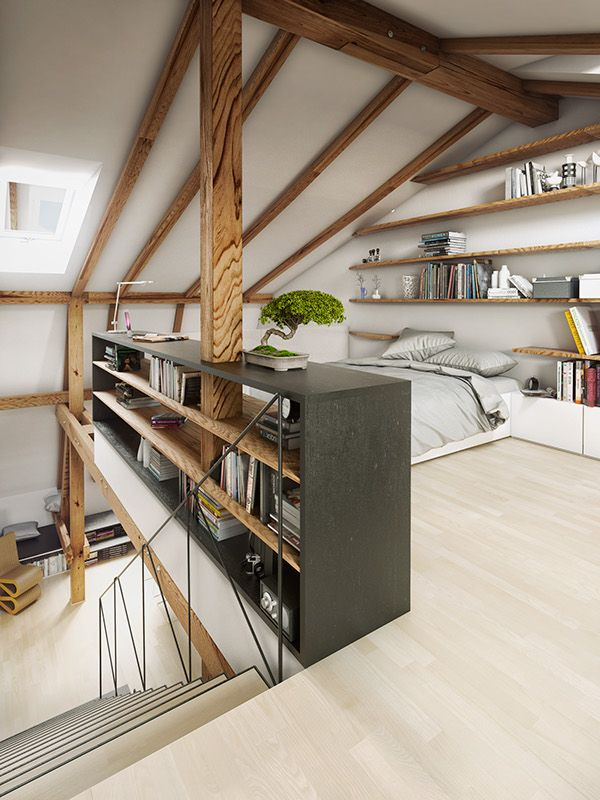 Pecháčkova Flat in Prague This is project which i did on Behance open plan,bedroom,exposed oak beams,space saving