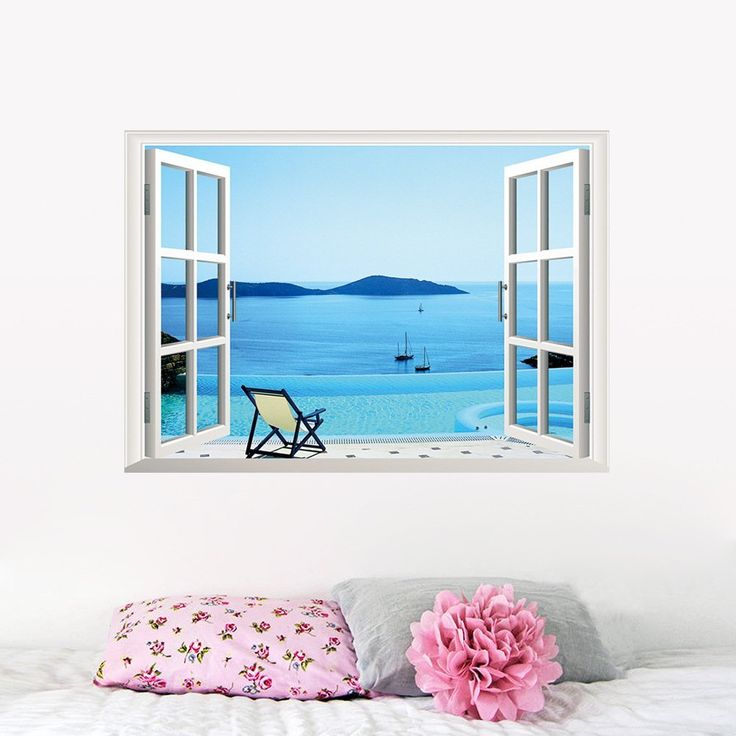 Boodecal 3d Faux Window Ocean Beach Wall Stickers, Blue Sky Floating Sailings Holliday Village Paradise View Faux Fake Window Sea Scenery Wall Decals Sofa Decor 27*19 Inches >>> See this great image  : home diy improvement