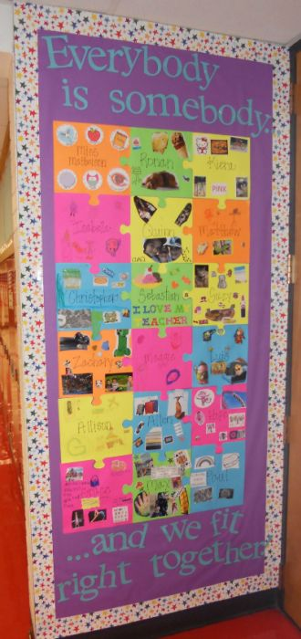Love this idea! Display on board of door - person puzzle pieces with interests, family, etc. Creates a sense of belonging and home-security