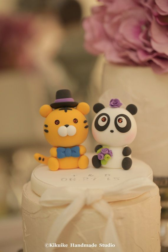 Panda and Tiger Wedding Cake Topperk724 by kikuike on Etsy