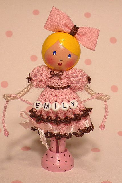 Emily - Clothespin doll custom order by creatingtreasures, via Flickr