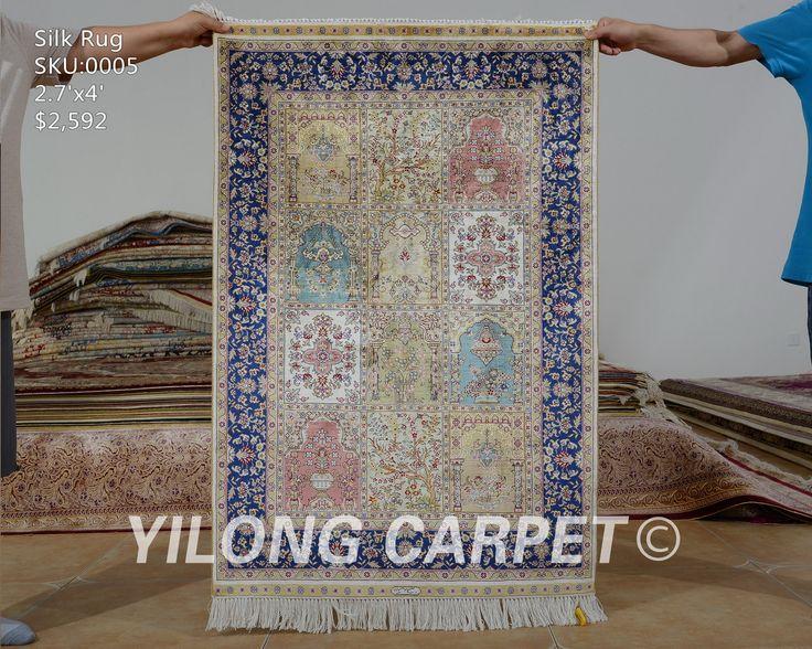 Yilong 2.7'x4' Hereke silk carpet four sea…