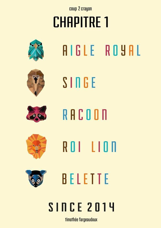 // Chapitre 1 //  #aigle #eagle #singe #monkey #raton #raccoon #lion #belette #weasel #animal #animals #animaux #graphisme #vectoriel