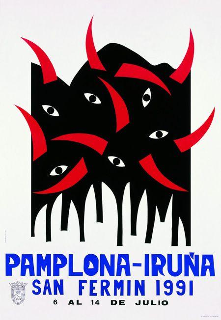 Cartel San Fermín 1991 | Diseños de carteles publicitarios de fiestas populares de España.                                                                                                                                                                                 Más