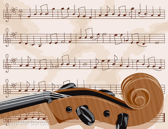 Cello scroll with sheet music (vector illustration) by bortonia, via Flickr