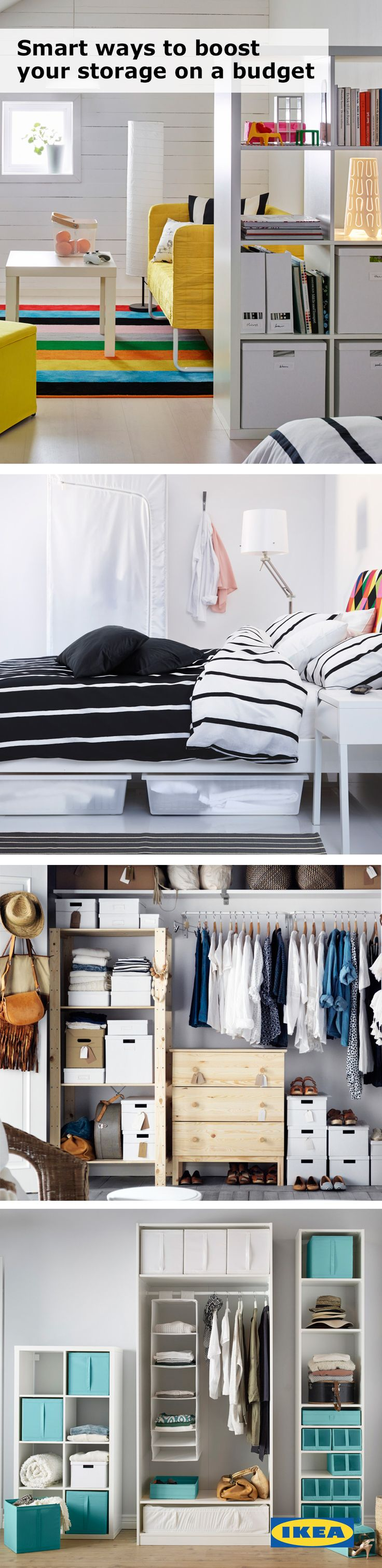 Storage can help to keep even the smallest of spaces organized! A college room or dorm is the perfect place for IKEA underbed storage, storage boxes and plenty of shelving. #IKEAStudyInStyle