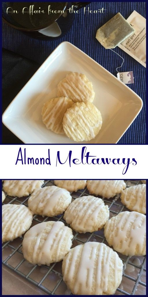 Almond Meltaways - an affair from the heart  These cookies are seriously so good! If you love almond flavoring, you will love these melt in your mouth little bites from heaven!