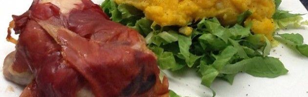 Gevulde kippendijen met parmaham, pompoen en bataat - Oerkracht voedingsadvies