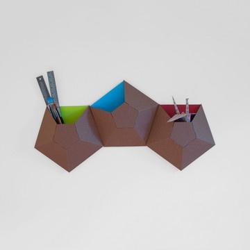 Very cool handmade wall pockets - love the geometric shape.
